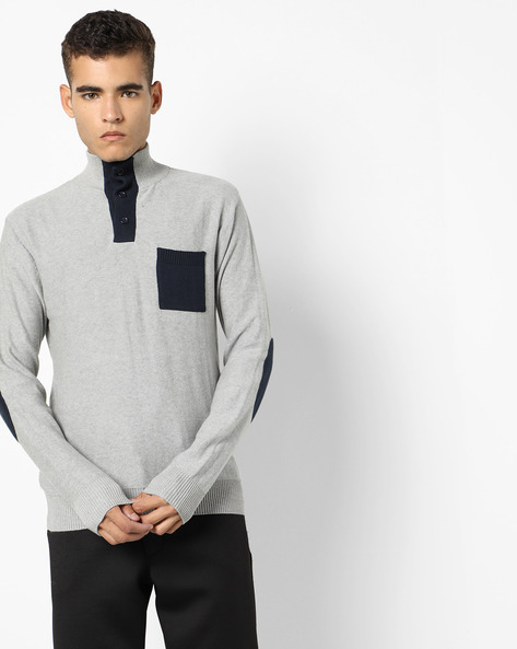 High-Neck Pullover With Button Placket By AJIO ( Lightgrey )