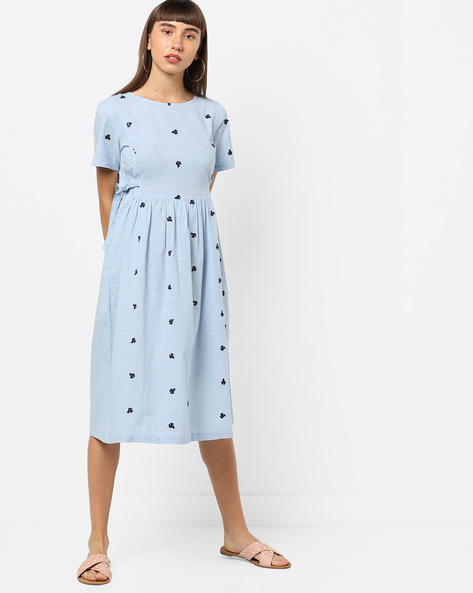 Embroidered A-line Dress With Tie-Ups By AJIO ( Lightblue )