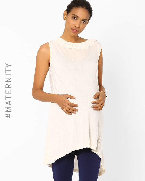 High-Low Maternity Top By AJIO ( Navyblue )