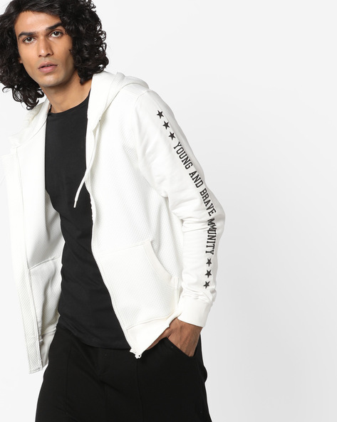 Hooded Sweatshirt With Front Zipper By AJIO ( White )