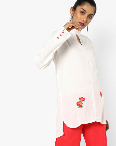 High-Low Tunic With Embroidery By AJIO ( Offwhite )