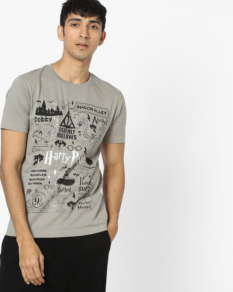 Harry Potter Print T-shirt By Souled Store ( Grey )