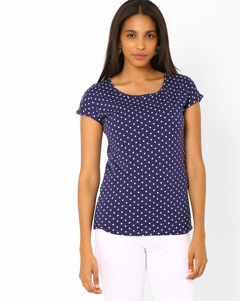 Polka-Dot Print T-shirt By Honey By Pantaloons ( Black )