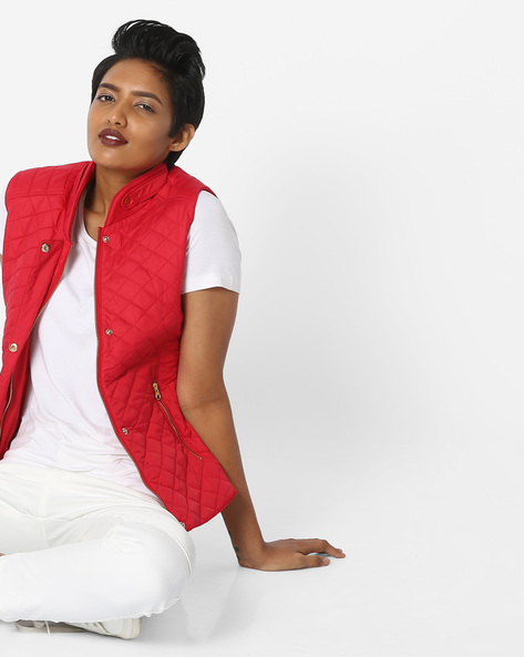 Quilted Sleeveless Biker Jacket By Fort Collins ( Red )