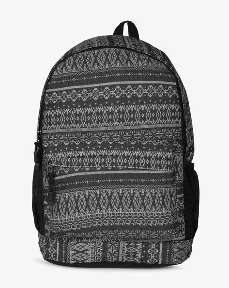 Printed Backpack With Front Pocket By AJIO ( Black )