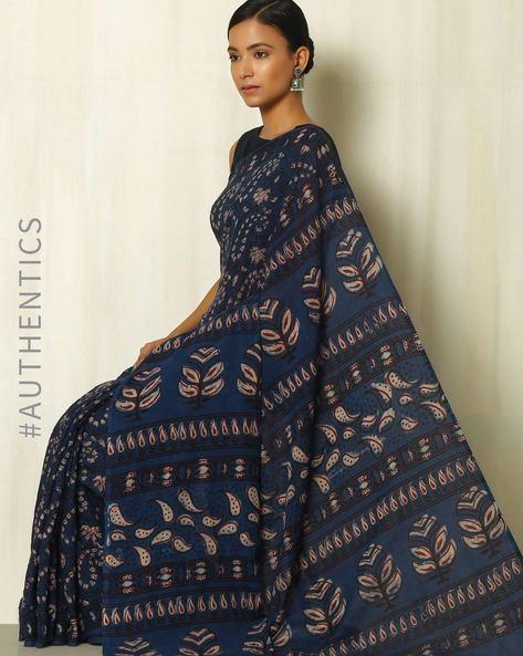 Tarapur Hand Block Print Indigo Cotton Saree By Indie Picks ( Indigo ) - 460084394001