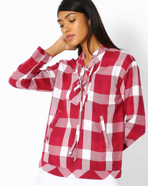 Checked Top With Lace-Up Neckline By Oxolloxo ( Multi ) - 460087494001