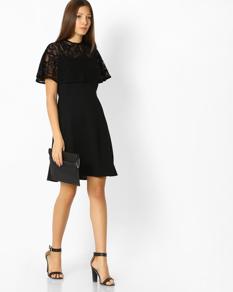 Popover Dress With Lace Detail By Femella ( Black )