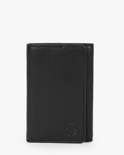 Genuine Leather Tri-Fold Wallet By UNITED COLORS OF BENETTON ( Black )