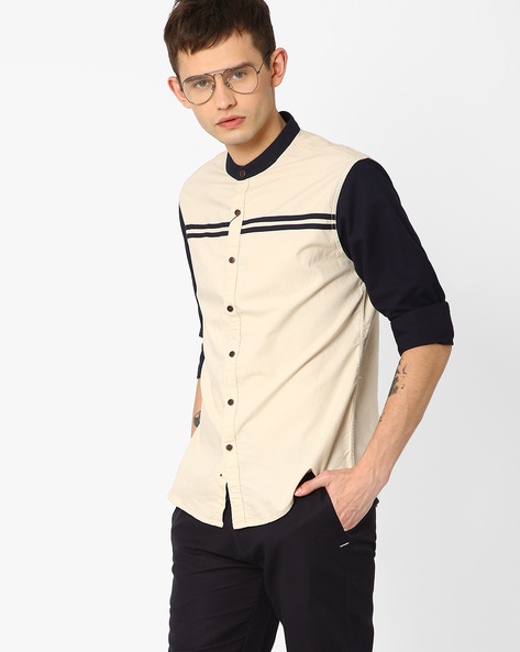 Cut & Sew Slim Fit Shirt By AJIO ( Beige )