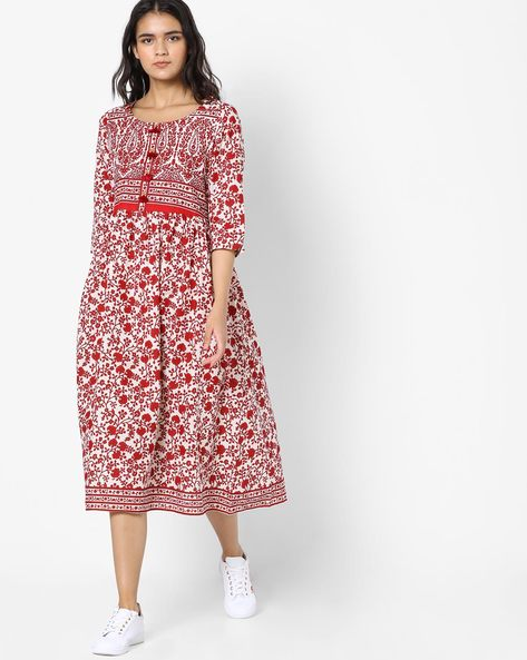 Floral Print Flared Kurta By Melange By Lifestyle ( Offwhite )
