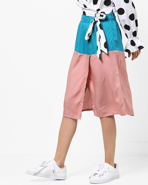 Colourblock Skirt With Front Slit By AJIO ( Pink )