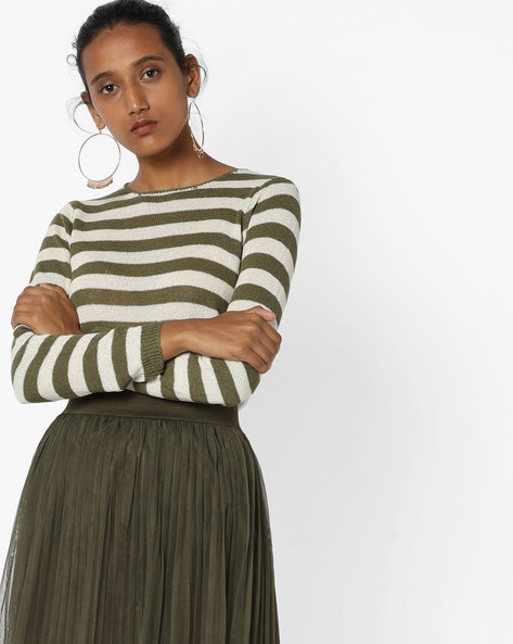 Striped Top With Ribbed Hems By Fame Forever By Lifestyle ( Olive )
