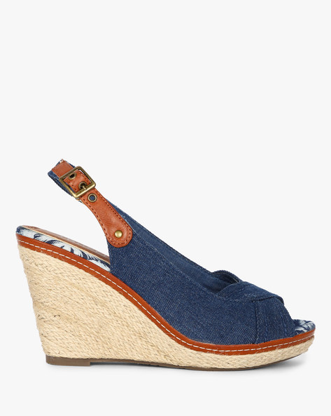 Peep-Toe Wedges With Sling Back By Dummy ( Blue )
