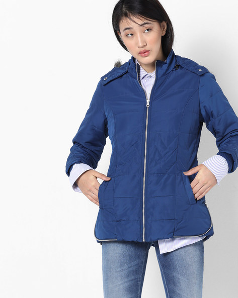 Hooded Quilted Jacket By Fort Collins ( Navy )