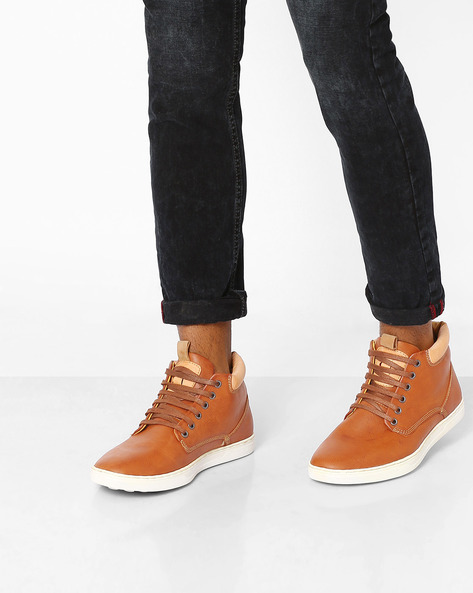 Mid-Top Panelled Sneakers By AJIO ( Tan )
