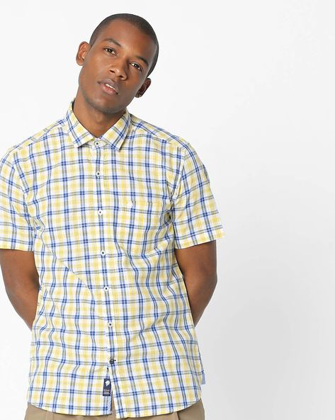 Checked Cotton Shirt With Short Sleeves By NETPLAY ( Yellow )
