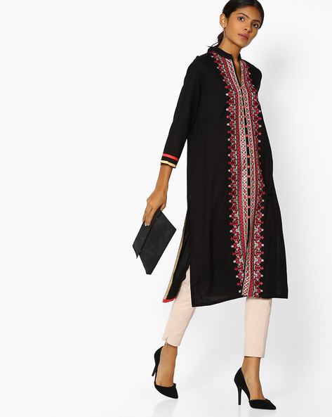 Embroidered Straight Kurta With Front-Slit Hem By Purple Tree ( Black )