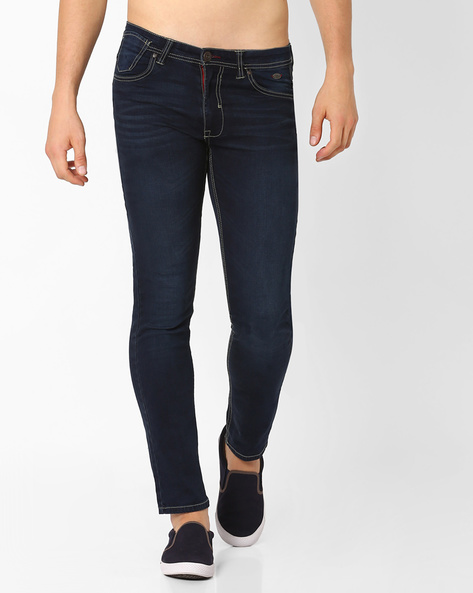 Lightly Washed Skinny Fit Jeans By DNM X ( Darkblue )