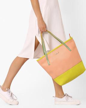 Colourblock Faux Leather Handbag