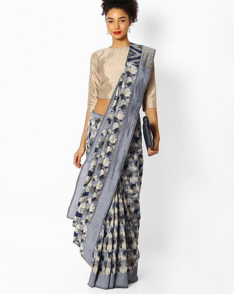 Woven Banarasi Saree With Contrast Border By Parmita ( Blue )