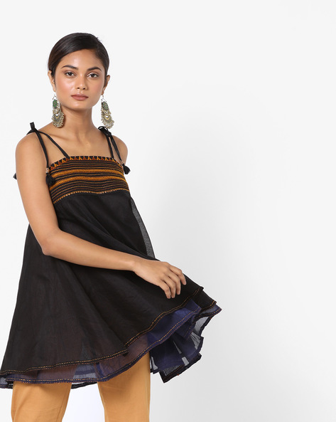 Layered Tunic With Tie-Up Sleeves By AJIO ( Black )