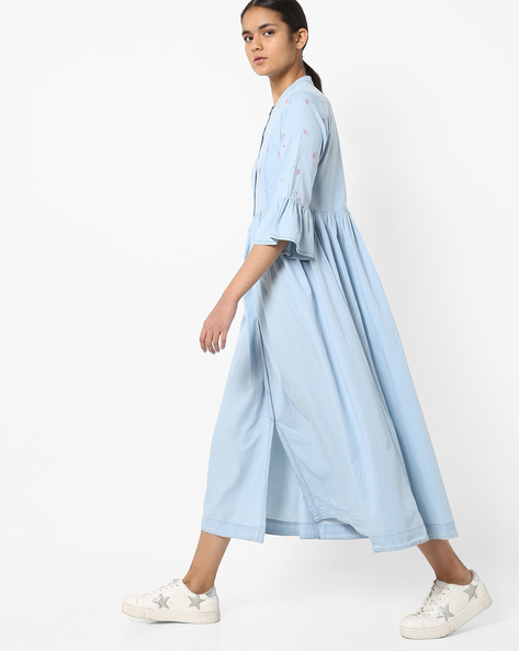 Maxi Dress With Buttoned Front By AJIO ( Ltblue )