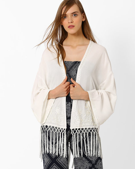 Embroidered Shrug With Tassels By Oxolloxo ( White )