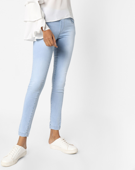 Skinny Fit Ankle-Length Jeggings By KRAUS ( Ltblue )