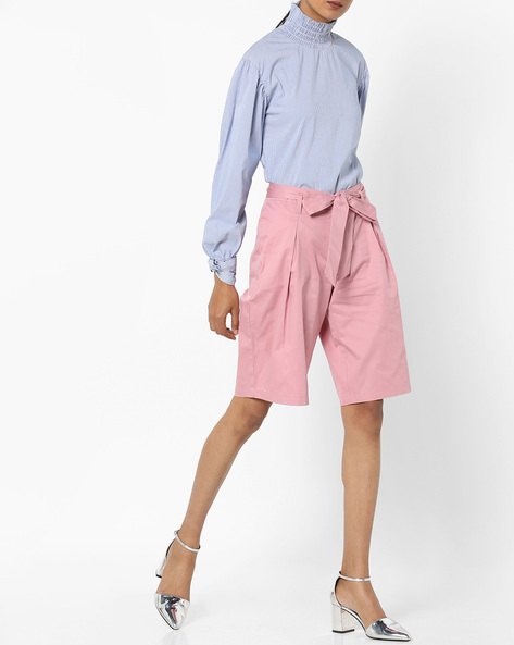 Pleated Culottes With Front Tie-Up By AJIO ( Pink )