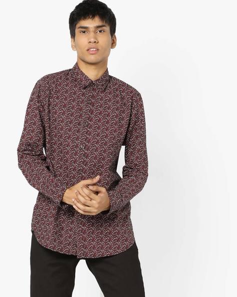 Printed Slim Fit Shirt By Jack & Jones ( Black )