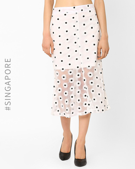 Floral Midi Skirt With Mesh By MDS ( White )