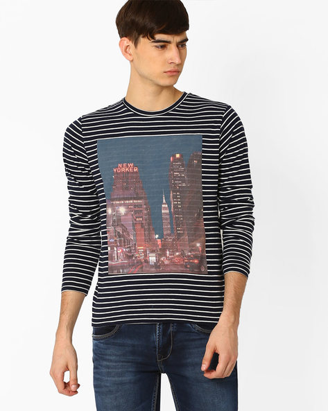 Striped Slim-Fit T-shirt By Jack & Jones ( Navy )