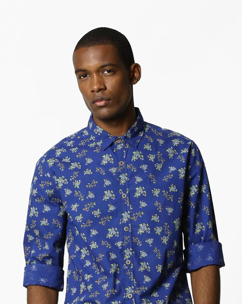 Floral Print Cotton Shirt By UNITED COLORS OF BENETTON ( Darkblue )