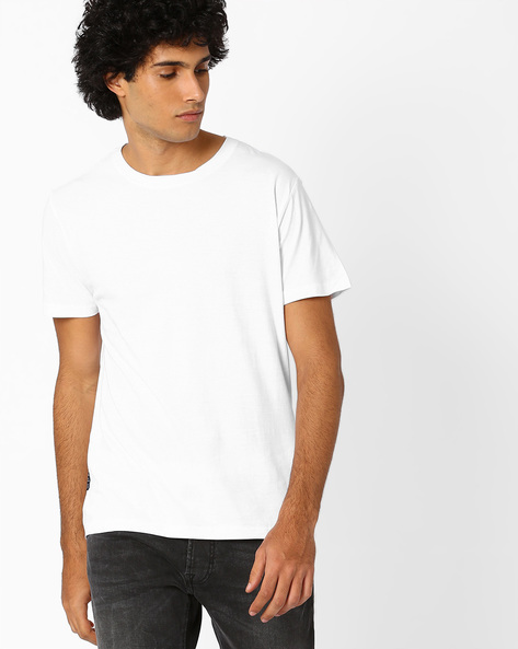Crew-Neck Slim Fit T-shirt By Blue Saint ( White )