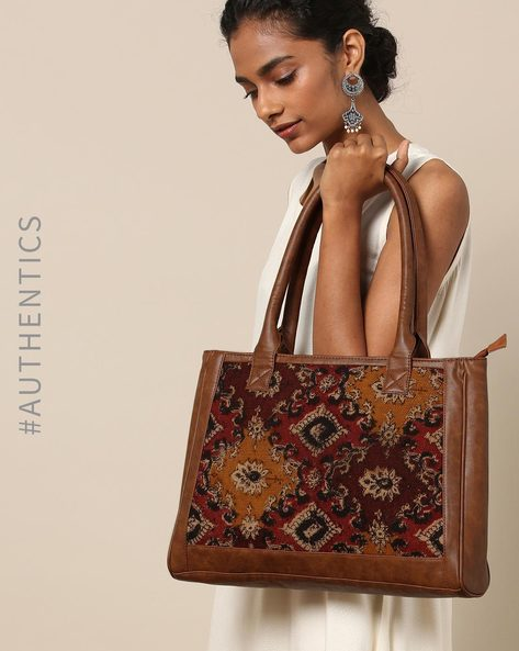 Handloom Kilim Vegan Leather Shoulder Bag By A BIG INDIAN STORY ( Tan )