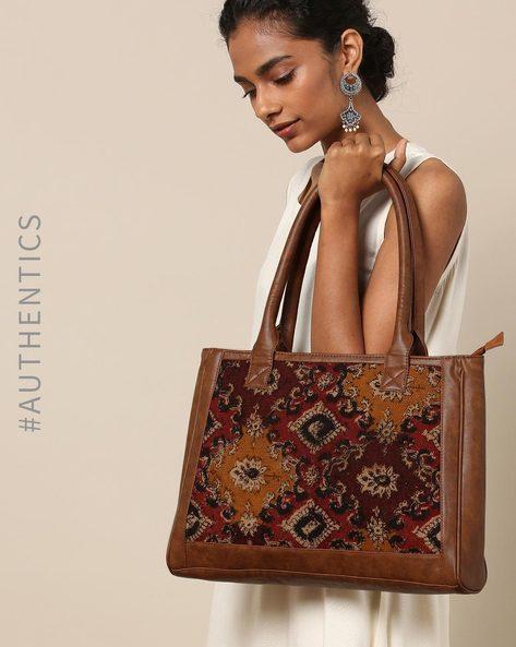 Handloom Kilim Vegan Leather Shoulder Bag By A BIG INDIAN STORY ( Tan )