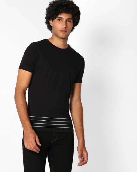 Crew-Neck Slim Fit T-shirt By The Indian Garage Co ( Black )
