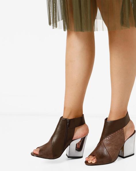 Peep-Toe Chunky Heeled Sandal By AJIO ( Brown )