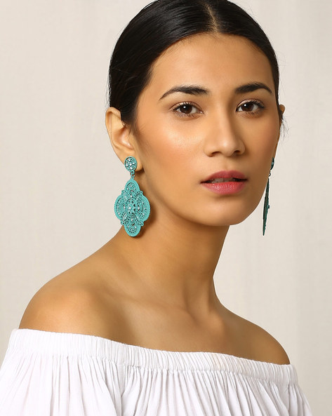Filigree Drop-Earrings By Indie Picks ( Blue )