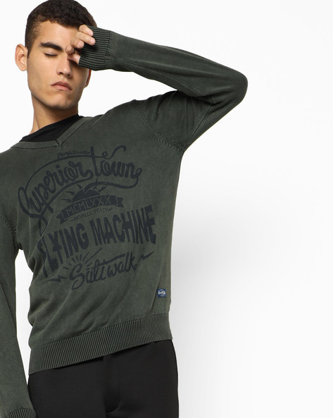 V-neck Printed Pullover By FLYING MACHINE ( Assorted )