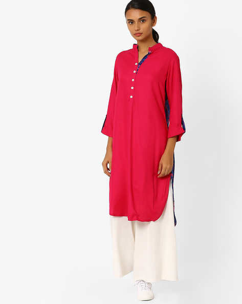 Floral Print High-Low Collared Kurta By Jiyaa ( Fuchsia )