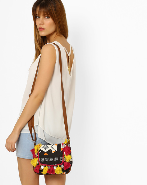 Printed Canvas Sling Bag By Kanvas Katha ( Black )