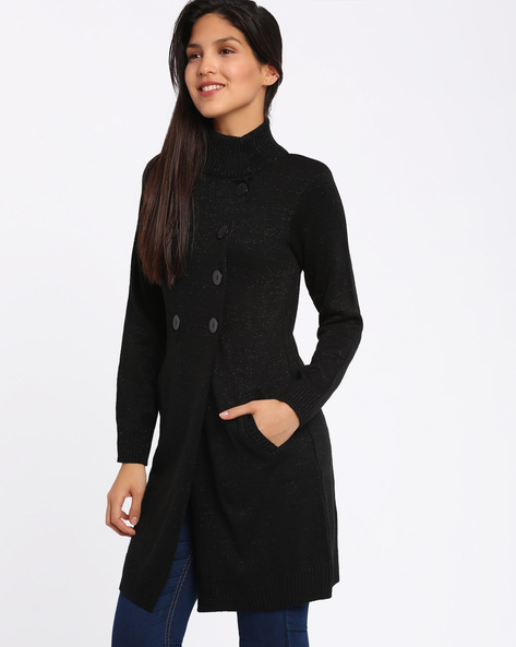 Long Cardigan With High Neck By Annabelle By Pantaloons ( Black )