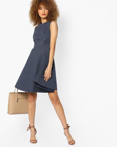 Printed Skater Dress By AJIO ( Blue )