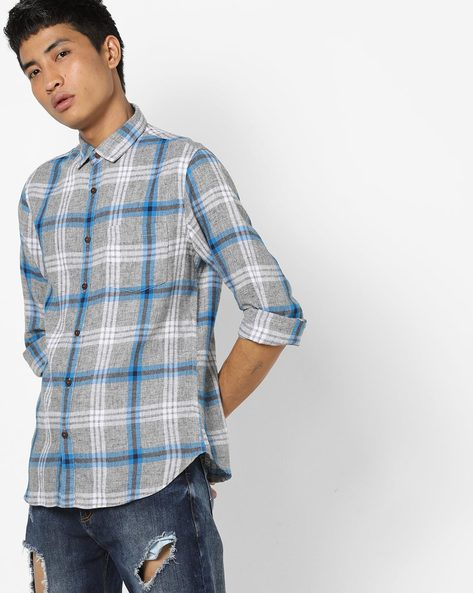 Checked Slim Shirt With Patch Pocket By AJIO ( Blue )
