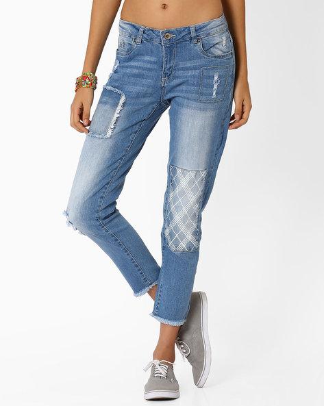 Denim Jeans With Frayed Hems By AJIO ( Lightblue )