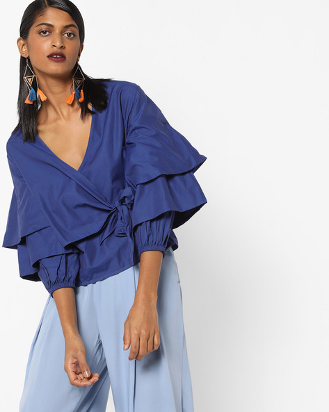 Blouson Top With Tiered Sleeves By AJIO ( Navyblue )
