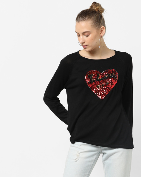 Sequinned Heart Pullover With Raglan Sleeves By Only ( Black )