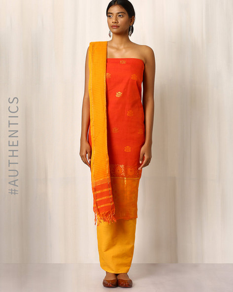 Handwoven Cotton Dress Material Set By Indie Picks ( Peach )